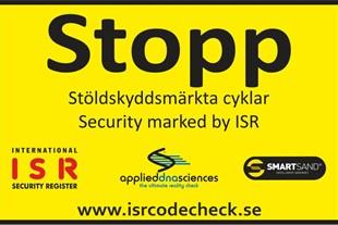 Varningsdekal STOPP, laminerad och självhäftande