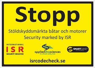 STOR Varningsskylt STOPP, båtar och motorer